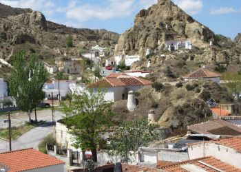 Guadix Cave Homes and Old Quarter from Granada