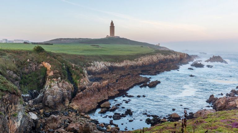 A Coruna City and  the Wild Rocky Coast of the Rias Altas in Galicia