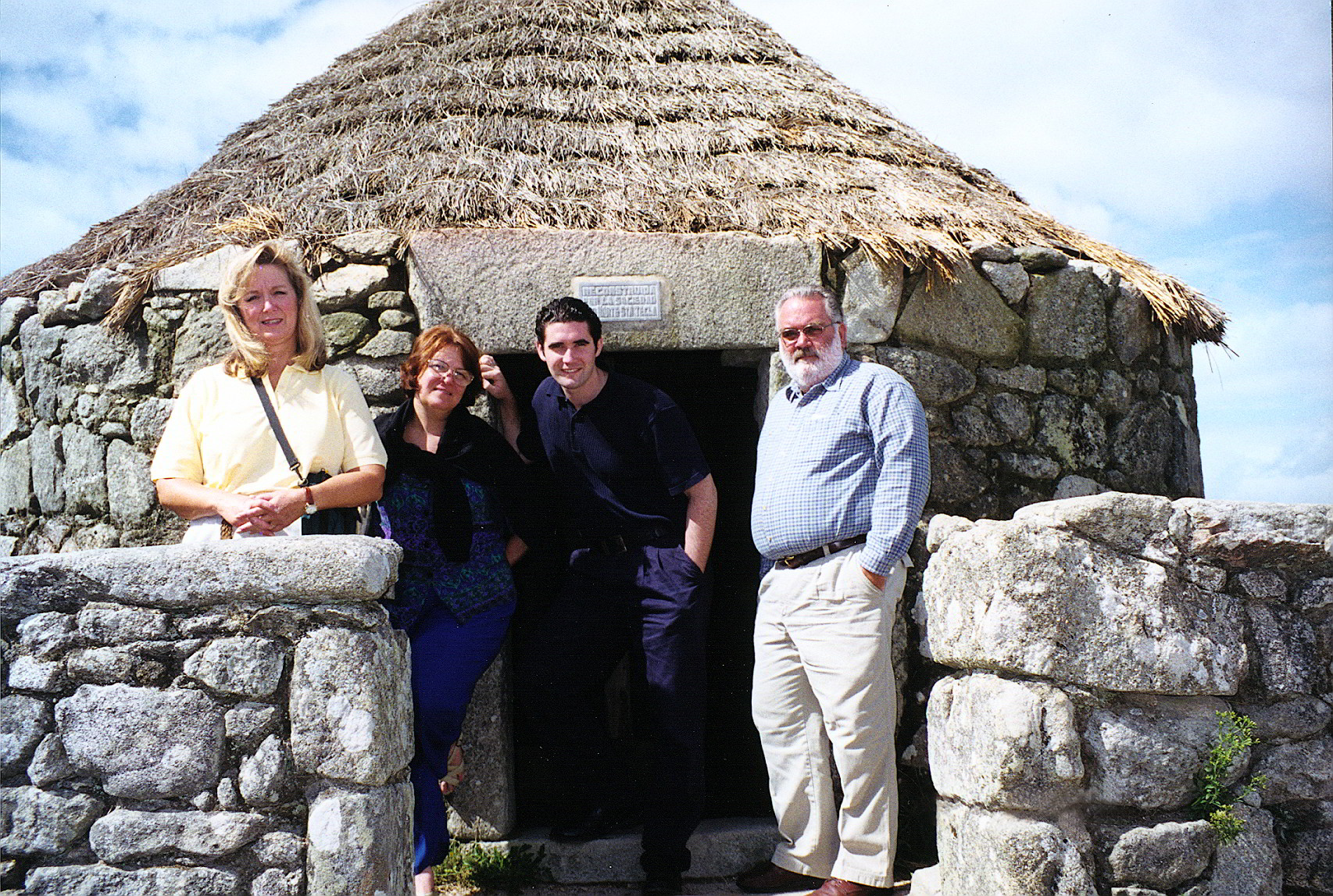 Group photo at the huts of Monte Santa Tecla Celtic Hill-fort, A Guarda