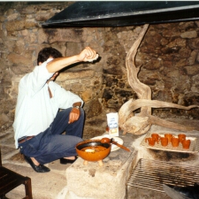 Marcos getting our Queimada prepared at the manor house after dinner