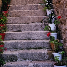 Flower Pots line the stairs in Combarro