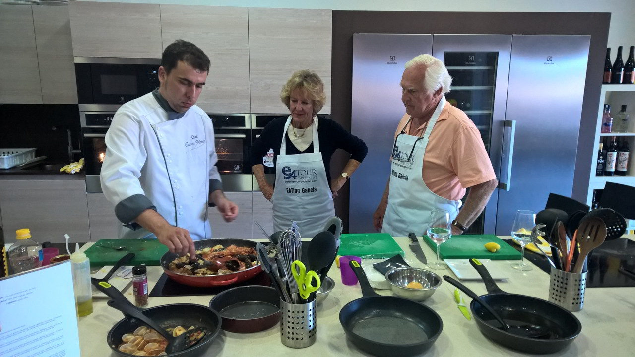 Chef Explaining Galician Paella - Galician Coastal Cooking Class on Vigo Bay