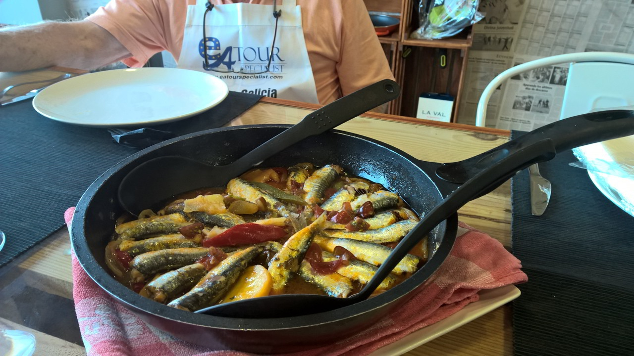 Stewed Small Sardines 1st course - Galician Coastal Cooking Class on Vigo Bay