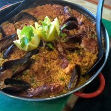 Serving the Galician Paella - Galician Coastal Cooking Class on Vigo Bay
