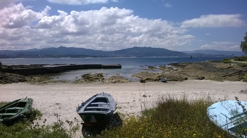 Small Beach Praia da Congorza in Cangas with view of the bay